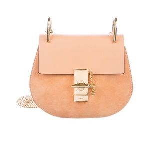 Chloe mini drew Tan Peach Leather Suede Handbag